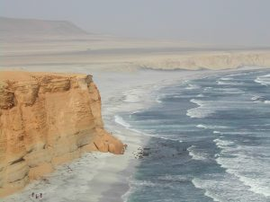 Pacific coast in Paracas, Peru