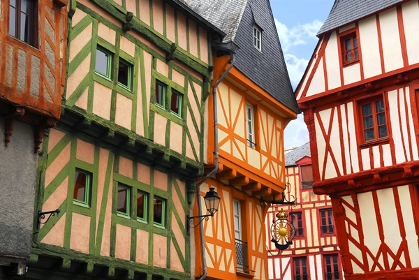 Brittany, Colorful medieval houses in Vannes