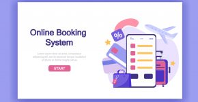 buying tickets online on travel. Online booking system with payment card, luggage, airplane.